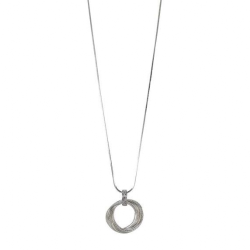 Bisoux Long Necklace with Multi Hoop Feature in Silver